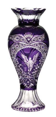 Footed Violet Vase with Angel Engraving