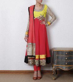 Pink Georgette Anarkali Suit by Raas