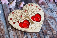 """Customized Engraved Wooden Holder for Wedding Rings """"Elegy"""" # 3 Personalalisiertes Holz Ringhalter Personalized Wooden Ring Pillow - . Wood Crafts, Diy And Crafts, Wedding Ring Box, Wedding Ceremony, Gravure Laser, Valentine Gifts For Girlfriend, Motif Art Deco, Laser Cutter Projects, 3d Laser"""