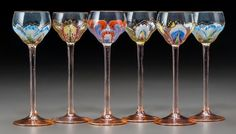 Set of Art Nouveau painted and gilt cordial glasses in the style of Moser, early 20th Cent.