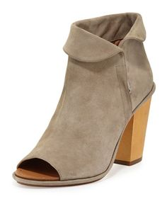 Odasha+Suede+Fold-Over+Bootie,+Earth+by+VC+Signature+at+Neiman+Marcus.