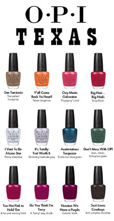 Google Image Result for http://4.bp.blogspot.com/-_qzAD-zYDAo/TbqWfKCMA8I/AAAAAAAAABc/gw6ETGHvFII/s1600/OPI-Texas-Spring-2011-nail-polish-collection-colours.jpg