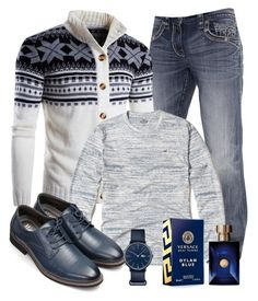 Untitled #2483 by alice-fortuna on Polyvore featuring polyvore Hollister Co. Rock Revival Lacoste Versace men's fashion menswear clothing