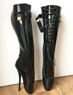 material: PU uppercolor: black (patent) or custom colorMADE TO ORDER (NOT IN STOCK)- ballet boots with concealed lace flap and locking strap with real padlock- 2 pairs of laces are hidden under zipper flaps- upper lace goes down and lower lace goes up, kn Thigh High Boots, High Heel Boots, Knee Boots, Heeled Boots, Ballet Boots, Ballet Heels, Shoes Heels, Botas Sexy, Sexy Boots