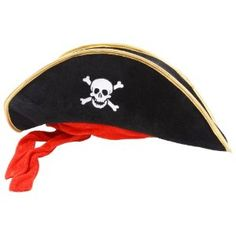 Long Style Fancy Dress Black Velvet Effect Pirate Hat W/ Attached Red Bandana: Wicked Costumes: Amazon.co.uk: Toys & Games