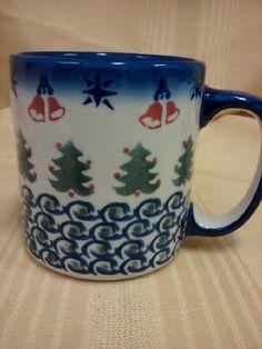 """""""O Christmas Tree"""" Pattern 12 oz. mug by Cer-Maz Pottery, Poland."""