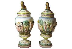 Antique Lion Finial Italian Urns, Pair on OneKingsLane.com