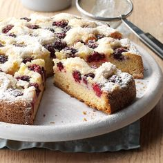 Blackberry-Orange Cake Recipe -My grandmother made luscious fruit pies and cobblers using blackberries from her garden. I decided to follow her lead and create a blackberry cake that's always lovely with a summer meal. —Lisa M. Varner, El Paso, Texas