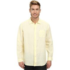 Tommy Bahama Sea Glass Breezer Long Sleeve Shirt (Bright Creme) Men's... ($40) ❤ liked on Polyvore featuring men's fashion, men's clothing, men's shirts, men's casual shirts, yellow, mens casual button down shirts, mens long sleeve button down shirts, mens casual long sleeve button down shirts, mens button down shirts and mens button up shirts