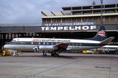 BEA Scottish Airways Vickers 802 Viscount G-AOJE at Berlin-Tempelhof, February 1971. (Photographer: Jürgen Lutz, Courtesy of the Bob Garrard Collection)