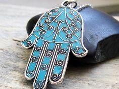 Beautiful turquoise Hamsa necklace from baronikadesigns on Etsy