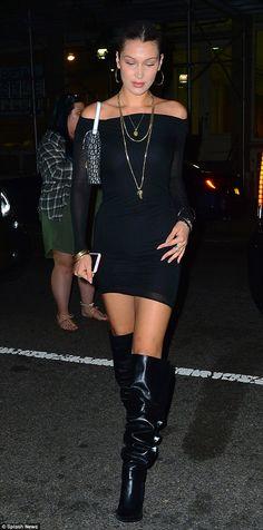 Stunner: Top model Bella, 20, younger sister of model Gigi, chose a figure-hugging off-the-shoulder black dress