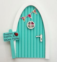 Personalised Fairy Door  - Tinkerbell Green. Magical Miniature Elf Door with Bunting & Signpost, Imaginative Play, Gift for Girls, Role Play