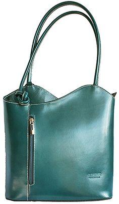Multi-Way Teal Green Leather Shoulder Bag/Backpack
