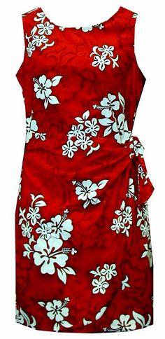 White Hibiscus Ladies Hawaiian Print Sarong Dress Red, Womens Tropical Hawaiian Tank Dresses, 313_3156_Red