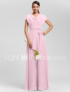 Sheath / Column Cowl Neck Floor Length Chiffon Bridesmaid Dress with Draping Sash / Ribbon by LAN TING BRIDE® 2017 - $99.99