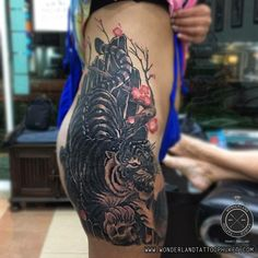 Tiger tattoo on hip.  For appointment or Design tattoo please contact   WEBSITE: www.wonderlandtattoophuket.com FACEBOOK: www.facebook.com/wonderland.tattoo.phuket EMAIL: wonderlandtattoo86@gmail.com INSTAGRAM: wonderlandtattoo_phuket   #Thailand #Thailandtattoo #Phuket #Phukettattoo #Patong #Patongtattoo #Tattoo #Tattoos #WonderlandTattooPhuket #WonderlandTattooPatongPhuketThailand #BestTattooShopPatongPhuketThailand