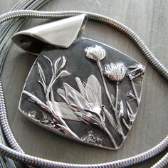 Wildflowers No. 2, Fine Silver Pendant, Natural Plant Reproduction, Artisan…