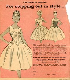 1960s Tulip Petal Skirt Dress Pattern Pauline 492 by CynicalGirl, $72.00