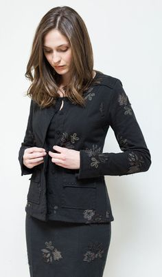 Riley Jacket - classic jacket styling, with Alabama Chanin applique and embroidery.  Love it!
