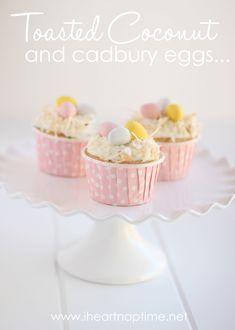 Easter cupcakes w/ toasted coconut & cadbury eggs.