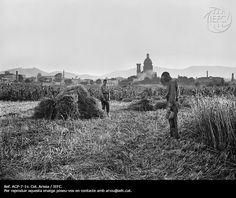 Pagesos al camp en el moment de l´Angelus. Sant Andreu de Palomar #Barcelona, anys 20 @IEFC_fotografia