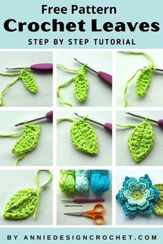 Crochet Leaf Free Pattern, Crochet Quilt Pattern, Crochet Applique Patterns Free, Crochet Leaves, Crochet Flower Patterns, Crochet Motif, Flower Crochet, Free Crochet, Diy Crochet Flowers Tutorial