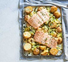 Creamy salmon, leek & potato traybake - - Nestle leeks, potato and capers around salmon fillets to make this easy traybake for two. It's great as an midweek meal, or for a more romantic occasion. Sushi Recipes, Salmon Recipes, Seafood Recipes, Savoury Recipes, Salmon And Leeks Recipe, Easter Recipes, Recipes Dinner, Salmon Potato, Baked Salmon