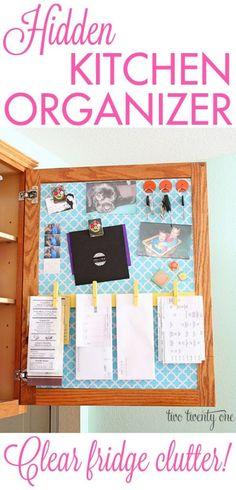 hidden kitchen organizer / command center to clear fridge clutter