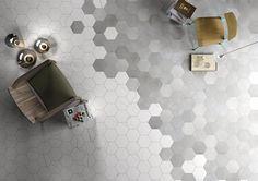 Hexagon love. Carrara mixed with concrete. Classic. #cerdomus #tile #design
