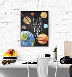 Oh the Places You Will Go, Solar System Print, Planets Print, Space Print, Galaxy Printable, Boys Room Decor, Watercolor Quote WP364