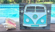 Handmade VW Bus with Rope Beach Pallet Art by BeachByDesignCo