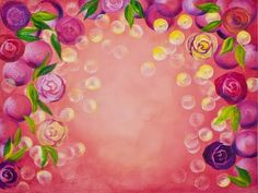🌹 Rose Bokeh 🌹 EASY and  Simple  background Step by Step Acrylic Paintin...