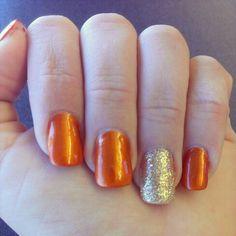 Fall nail design orange and gold