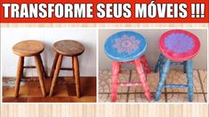 Como PINTAR e TRANSFORMAR velhos bancos de madeira! Cor é VIDA!!! #DIY Diy Videos, Stool, Furniture, Youtube, Home Decor, Transforming Furniture, Wooden Stools, Chairs, Banquettes