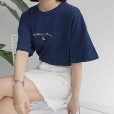 Cheap women tshirt, Buy Quality t-shirt women directly from China t-shirt women summer Suppliers: Harajuku Women Tshirts 2018 New Cute Moon Embroidery Printed Short Sleeve T-shirt Woman Summer All-match Casual Tops
