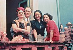 Frida with her sister Cristina, Nickolas Muray, and Rosa Covarrubias, Coyoacán, 1939