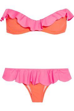 Finds Je M'en Fous ruffled neon bandeau bikini.
