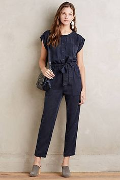 Utility Belted Jumpsuit, Navy