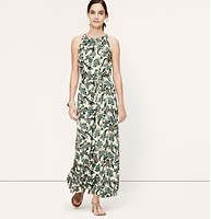 """Paisley Halter Maxi Dress - A delicately drawn paisley print lends ornaments this must-have. Halter neck. Sleeveless. Pleated details beneath neckline. Self ties at waist. Keyhole detail at back neck. Back zip. Back vent. 42"""" from natural waist."""