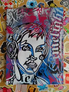 painting of dj with head phones v by AbstractGraffitiShop on Etsy