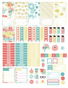 Printable Planner Stickers Gold Floral Bloom by LaceAndLogos