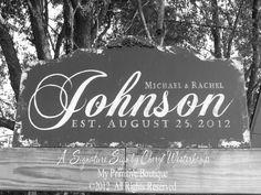 Custom NAME SIGN in Distressed Black, Vintage Signs, ESTABLISHED Name Sign, Vintage Modern Decor, Wedding Gift, Bridal Shower, 30 x 16 on Etsy, $74.00