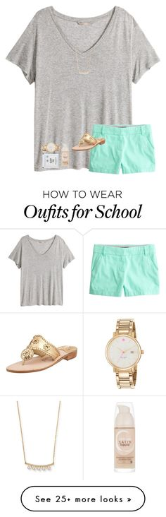 """""""Don't wanna be at school rn"""" by avaodom on Polyvore featuring H&M, J.Crew, Jack Rogers, Majorica, Kate Spade and Maybelline"""