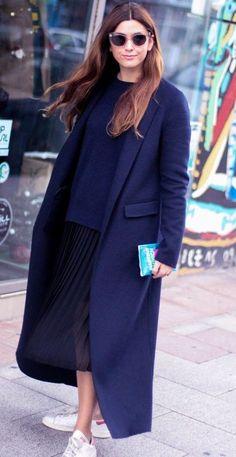 NWT ZARA Studio Hand Made Dark Blue Wool Long Coat Size S Ref.7522/257 #ZARA #BasicCoat