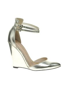 Metal Champagne wedge heels with double ankle strap