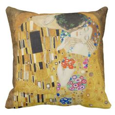 Gustav Klimt The Kiss Art Nouveau Grade A Woven Cotton Pillow