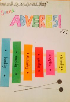 Awesome art activity for teaching adverbs/grammar - xylophone art for sound adverbs. Classroom Board, 3rd Grade Classroom, Classroom Ideas, Music Classroom, Bulletin Board, Adverb Activities, Book Activities, Learning Resources, Writing Traits