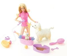 Barbie Reality Clean Up Pup  Playset by Mattel. $21.05. From the Manufacturer                Play in the mud then the suds as the little puppy comes clean with a color-change feature in cool water. Barbie doll and Tika dog help too. When girls push the big dog's tail, the dog carries the pup to the tub, and nuzzles and nurtures with her mouth.                                    Product Description                Barbie Clean-Up Pup PlaysetPlay in the mud and then the suds...