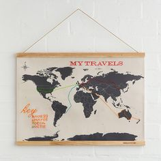 Wanderlust Cross Stitch Map -- I love this idea, but I'd rather do it as plain embroidery than cross-stitch.